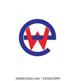 letter we linked lines logo vector