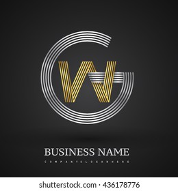 Letter WG or GW linked logo design circle G shape. Elegant silver and gold colored, symbol for your business name or company identity.