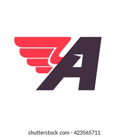 A letter with wing logo design template. Vector sport style typeface for sportswear, sports club, app icon, corporate identity, labels or posters.