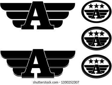 Letter A with wings and stars for crest flag banner
