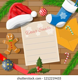 Letter with wishes to santa claus. Wooden desk candycane, envelope, fur branches, holly, stocking, hat, gingerbread man. Christmas new year eve xmas holidays. Vector illustration flat style