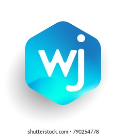 Letter WJ logo in hexagon shape and colorful background, letter combination logo design for business and company identity.