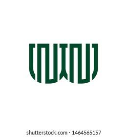 letter wn stripes geometric line logo vector