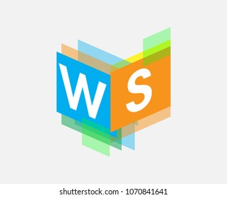 Letter WS logo with colorful geometric shape, letter combination logo design for creative industry, web, business and company.