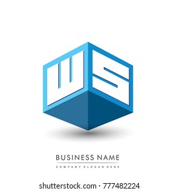 Letter WS logo in hexagon shape and blue background, cube logo with letter design for company identity.