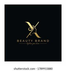 Letter X Beauty Face, Hair Salon Logo Design