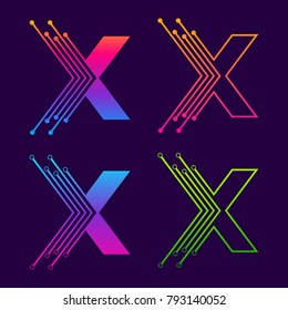 Letter X Colorful logotype design with Dot Linked Shape and line Circle symbol, Technology and Digital Connection concept for your Corporate identity