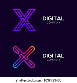 Letter X Colorful logotype with Three Line, Square and Circle shape Maze Labyrinth, Technology and Digital Connection Link concept for your Corporate identity