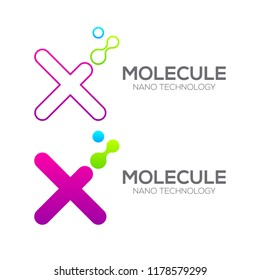 Letter X with Dot and Curve ,Circles shape connected, Molecule and Nano Technology logotype, innovation tech, Medicine, Science, Laboratory, Cosmetics for corporate identity