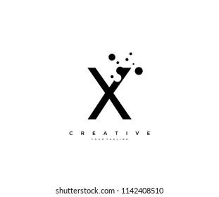 Letter X with dots shape logo design