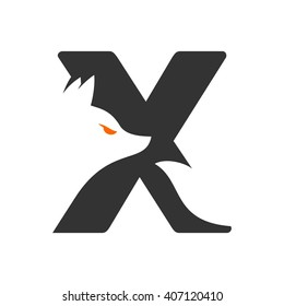 letter X and fox logo vector.