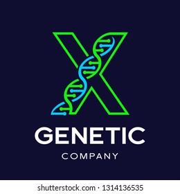 Letter X Genetic DNA vector logo template. Design with chromosome symbol. This logo is suitable for research, science, medical, logotype, technology, lab, molecule, protein, nucleus, spiral.