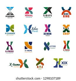 Letter X icons for business. Xylophone and xenial, x-ray and xing, x-change and xebec, xenon and XL shop, x-press and x-treme, X Y Z group and XIX retro style symbols or signs vector isolated
