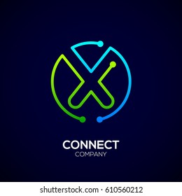 Letter X logo, Circle shape symbol, green and blue color, Technology and digital abstract dot connection