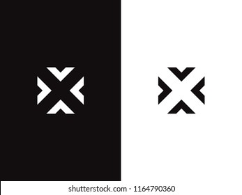 Letter X logo design concept negative space style. Abstract sign constructed from arrows. Creative minimal monochrome monogram symbol. Modern vector element emblem