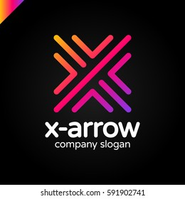 Letter X logo design concept with four arrow in round line style.