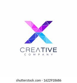 letter X logo design template. Art tech media app creative sign