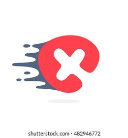 Letter X logo with fast speed water, fire, energy lines. Vector elements for sportswear, t-shirts, labels or posters.