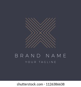 Letter X Logo Luxury Old Navy Gold, Logo Template, Icon, abstract, Unusual geometric, Striped
