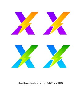 Letter X logotype set with Thunder Electric logo, Energy, Power, Flash, Lighting Bolt colorful concept for your Corporate identity vector design template