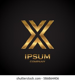 Letter X with metallic texture,3d Glossy, metal texture, Gold, steel and realistic shadow for logo