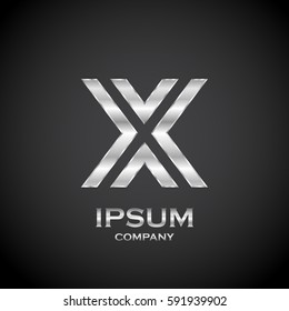 Letter X with metallic texture,3d Glossy, metal texture, Silver, steel and realistic shadow for logo