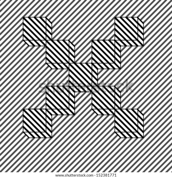 Letter X - optical illusion alphabet