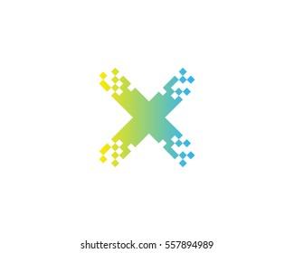 Letter X Pixel Logo Design Element