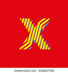 letter x, set of letters texture with zebra effect, decorative letter with yellow and blue lines red background vector, editable