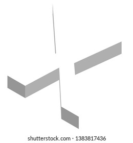 The letter X in three dimensional view