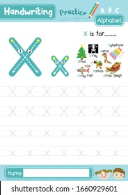 Letter X uppercase and lowercase cute children colorful ABC alphabet trace practice worksheet for kids learning English vocabulary and handwriting layout in A4 vector illustration.