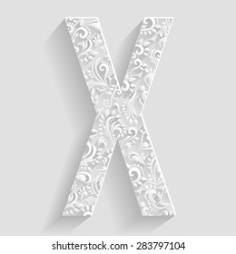 Letter X. Vector Floral Invitation cards Decorative Font