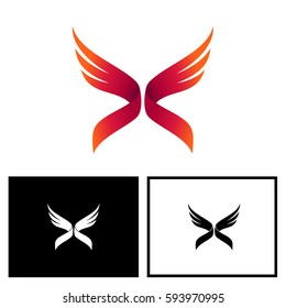 Letter X With Wing Logo Vector