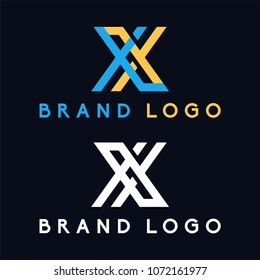 Letter X and letter XL minimalis logo blue and yellow color