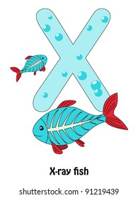 "Letter ""X"" and X-ray fish - alphabet for children"