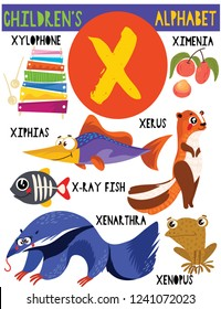 Letter X.Cute children's alphabet with adorable animals and other things.Poster for kids learning English vocabulary.Cartoon vector illustration.