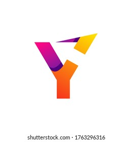 letter Y and arrow with gradient style for your business