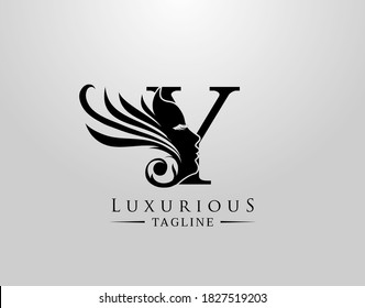 Letter Y with Beauty Face. Luxury Logo. Alphabetical Symbol for wedding, greeting cards, invitations, salon, spa, template design.