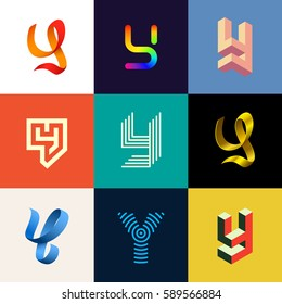 "Letter ""Y"" big logo pack. Isometric, minimal, line, colorful, ribbon, geometric, luxury vector monograms. Eps10 format."