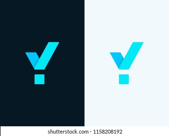 Letter Y with Check Mark. Graphic Alphabet Symbol for Corporate Business Identity. Agree / Approve sign with letter Y. Creative Minimal emblem design template. Vector element