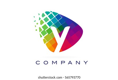 Letter Y Colorful Logo. Rainbow Y Letter Icon with Shattered Blocks.