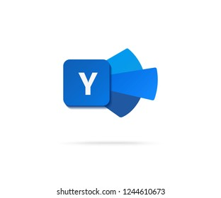 Letter Y  in dark blue shape icon vector illustration