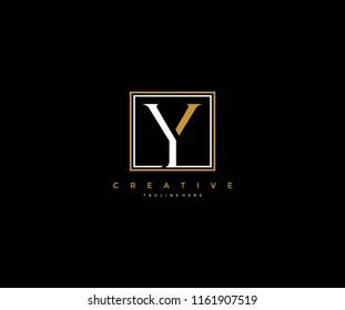 letter Y elegant line square frame hipster logo design