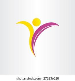 letter y healthy man yoga symbol design