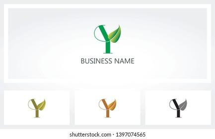 Letter Y Leaf Sprout Logo