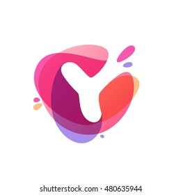 Letter Y logo at colorful watercolor splash background. Vector elements for posters, t-shirts and cards.