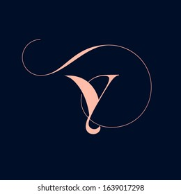 Letter Y logo with decorative swirl  element.Ornamental calligraphy lettering sign.Rose color alphabet initial icon isolated on dark background.Elegant,organic,luxury,beauty style character shape.