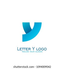 Letter y logo design, circle square concept, with blue color.