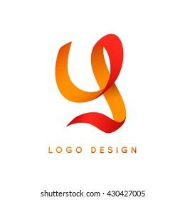 """Letter """"Y"""" logo design. Colorful ribbon."""