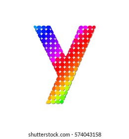 Letter Y Logo Design Concept in Colorful Dots Pattern Fill